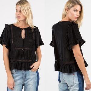 AMMIE Ruffle Sleeve Tie Front Top - Black